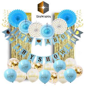 Dawana Baby Shower Junge Deko Set Boy 32 Teile Baby Party Dekoration Luftballons
