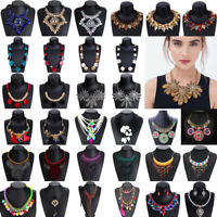 Fashion Women Crystal Chunky Statement Choker Bib Necklace Pendant Chain Jewelry