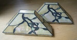 Vintage Pair of Stained Glass Wall Sconces Light Fixtures Tiffany Style