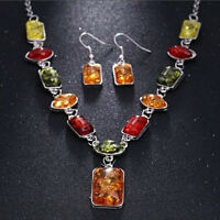 Retro Fashion Women Rhinestone Amber Necklace Earrings Jewelry Set Wedding Gifts