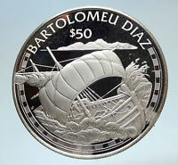 1988 COOK ISLANDS Portuguese Bartolomeu Diaz SAILING SHIP Silver $50 Coin i75179