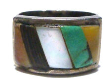 ANTIQUE NAVAJO OLD STERLING SILVER TURQUOISE WOOD CORAL MOP WIDE RING BAND SZ6.5