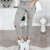 Womens Leggings Ladies Stretch Faded Ripped Slim Fit Skinny Denim Jeans Pants