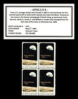 1969 - APOLLO 8 - Mint, Never Hinged, Block of four Vintage U.S. Postage Stamps