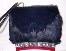 Patricia Nash Winter Fur Cassini Wristlet Clutch Bag Navy Blue Fur NWT $129