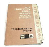 1986 CHEVROLET S-10 LIGHT DUTY TRUCK ORIGINAL DEALER SERVICE SHOP REPAIR MANUAL