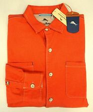 NWT Tommy Bahama Long Sleeve Flannel Shirt Mens XLT 2XB 2XT Orange Button NEW