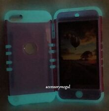 For iPod Touch 5th & 6th Gen - Pink GLOW IN THE DARK Hybrid Armor Case Cover