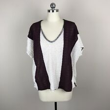 Sanctuary Boxy Crochet Traveler Tee Shirt Womens Burgundy Cream Sz M