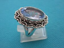 925 Sterling Silver Ring With Light Blue Quartz UK K 1/2 US 5.50 (rg2769)