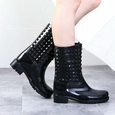 Women Rain Boots Chic Designer Rubber Waterproof High Heel Fashion Short Boots