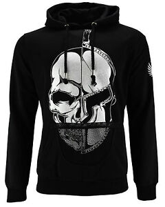 DIS IRATIS NATUS ( D. I.N Men's Sweatshirt Pullover Hoodie Skull Hood Black