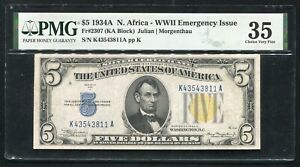 """FR. 2307 1934-A $5 """"NORTH AFRICA"""" SILVER CERTIFICATE PMG CHOICE VERY FINE-35"""