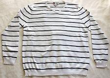 New Mens ILIAC GOLF Long Sleeve V-Neck Striped Sweater - White / Navy Blue - XXL