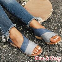 Women Splice Print Peep Toe Low Heel Sandals Ladies Summer Casual Shoes Size