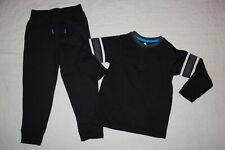 Boys Outfit Black L/S Henley T-Shirt Arm Stripes Black Sweatpants Pockets Size 6