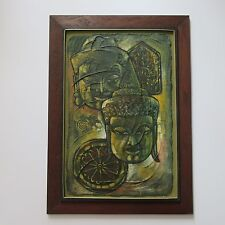 ANEK SUNANONT PAINTING VINTAGE ABSTRACT BUDDHA FUNK ART EXPRESSIONISM 1960'S MOD