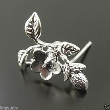 10PCS Silver Tone Brass Flower Earring Stud Jewelry Finding Hot 32926