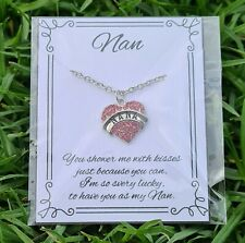 Nan Pink Crystal Necklace - Gift for Grandma Women Family Love Heart Personal