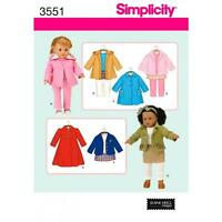 SIMPLICITY SEWING PATTERN MISSES' 18 INCH (45.5CM) DOLL CLOTHES  3551