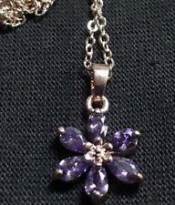 Perfect Brilliant Sparkle Purple Crystal Daisy Flower Gold Pendant FREE Chain