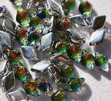(50 beads) Czech Glass Two Hole Beads: GemDuo® Backlit - Utopia #28102