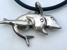 "STERLING SILVER 30mm.x15mmDOLPHIN PENDANT on a  18""/46cm. BLACK THONG £8.50 nwt"