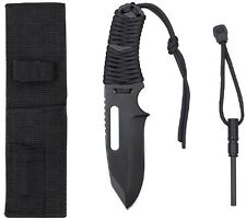 """BLACK Large 8.5"""" Paracord Survival Knife W/Fire Starter & Pouch 36742 #1"""