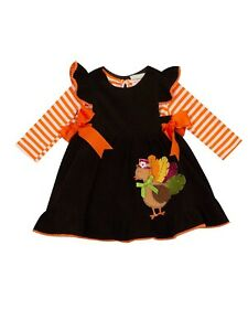 Rare Editions Baby Girls' Thanksgiving Turkey Corduroy Jumper Dress 12 month-4T