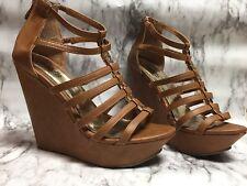 Charlotte Russe Platform Wedge Sandals Women Size 8 BROWN Ankle Zip Bowtie Beads