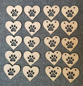 Wooden MDF hearts Paw Print Shapes Craft x10 Embellishments
