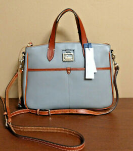 NWT Dooney & Bourke Pebble Leather Double Pocket Putty Gray Daniela Satchel Bag