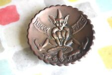 Antique Lucky Pixie Brass Ashtray Made In England
