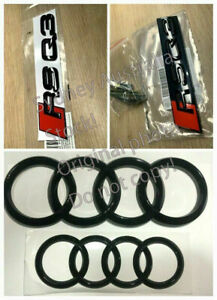 Genuine Style Gloss Black RSQ3 Front Rear Emblem Badge Full set for Audi RS Q3
