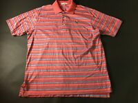 Peter Millar Mens Colorful Striped Short Sleeve Polo Shirt Size Large