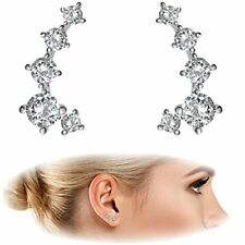 14K White Gold Plated Hearts Arrows Simulated Diamond Ear Crawler  Cuff Earrings