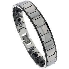 Tungsten Carbide Magnetic Bracelet w/ Black Edge Bar Links