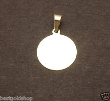 """16mm 5/8"""" ENGRAVABLE REVERSIBLE DISC CHARM PENDANT REAL SOLID 14K YELLOW GOLD"""