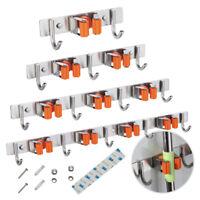 Mop Brush Broom Holder Hanger Storage Kitchen Store Wall Mounted Screw + Glue UK