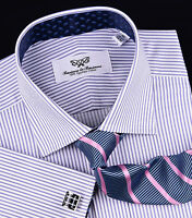 Purple Thin Striped Formal Business Dress Shirt Luxury Herringbone Fashion Blue