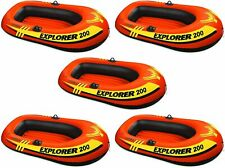 5 Pack Intex 2 Person Explorer 200 Inflatable River Boat Raft for Kids, Adults