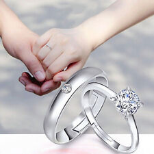 1Pair Woman Men Engagement Silver Plated Opening Adjustable Couple Rings Set
