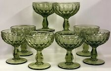 Set of 8 Vintage Fenton Green Thumbprint Stemmed Sherbet Glasses Dessert Compote