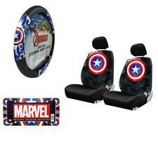 Captain America Car Truck Seat Covers Steering Wheel Cover & License Plate Frame