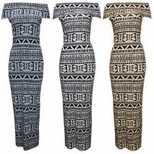 Women Ladies Off shoulder Aztec Tribal Print Bodycon Maxi Dress SZ 8-14