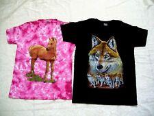 T-Shirt Shirt Junge oder Mädchen rosa schwarz Wölfe Pferd Wolf 100% Baumw. Neu