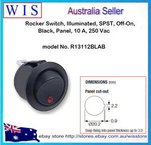 ARCOLECTRIC R13112BLAB Rocker Switch,Illuminated,SPST,Off-On,BLK,Panel,10 A 250V