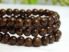 65 6mm Natural Dark Palm Wood Beads Wooden Round Nature Dark Brown D-J09