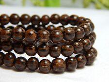 65 6mm Natural Dark Palm Wood Beads Wooden Round Nature Dark Brown D-J09