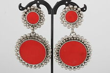 COSTUME RED STONES BEADED BOARDER DESIGN DANGLY EARRINGS FASHION 1232B